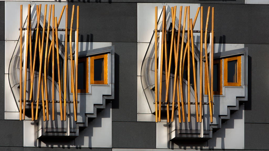 Projecting bay windows of two MSP office at the Scottish Parliament building, Edinburgh