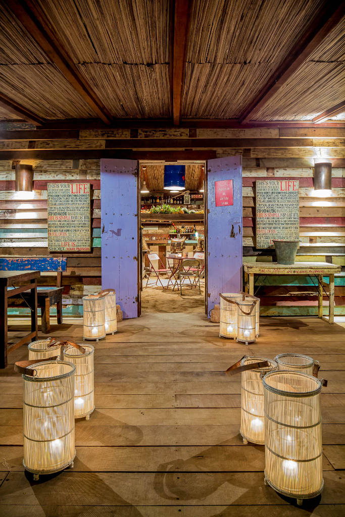 wood panelled Shanti Maurice Rum Shed bar in Mauritius